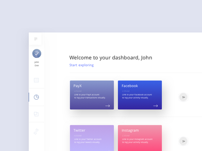 Dashboard - Social Media and Payments stats sketch dashboard gradients design interface ux ui