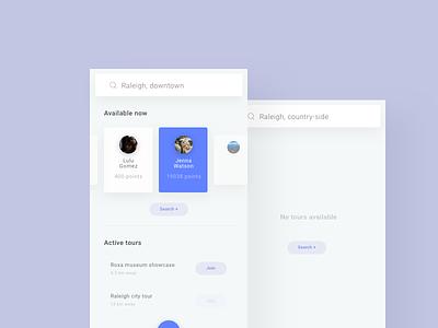 Tour App - UI/UX design search cta mobile light blue color interface ux ui app