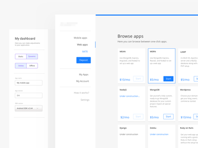 One-click App Dashboard white blue ux ui webdesgin design web website dashboard