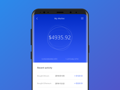 Crypto Currency Wallet currency blue product ux ui design s8 samsung mobile