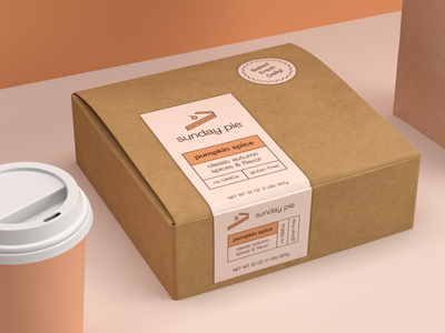 Sunday Pie Packaging Design mockup aesthetic minimal identity branding and identity logo sunday pie materials print food branding cardboard matte isometric 3d dimension product photography render packaging