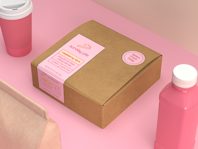 Sunday Pie Packaging Design minimalist sunday render product photography print pie packaging mockup matte minimal materials logo isometric food dimension cardboard identity branding aesthetic 3d