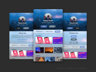 Daily UI #6 - User Profile Page