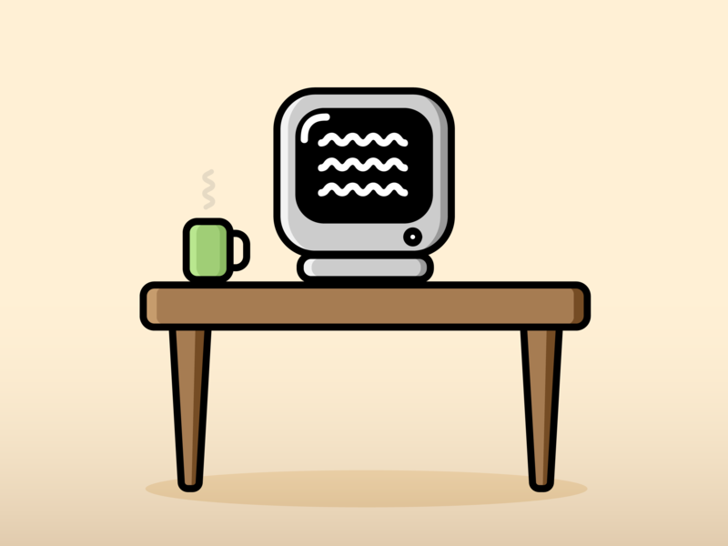Procrastination pastel neutral coffee retro desk computer design minimal gradient vector flat illustrator illustration
