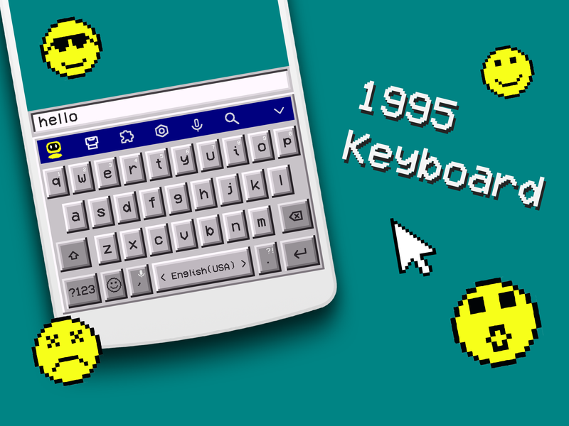 Retro Style Keyboard minesweeper emojis windows xp crt ux design mobile interface android iphone keyboard ux ui design ux keyjam facemoji 90s 95 windows retro