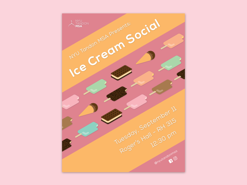 Ice Cream Social Flyer isometric typography ice cream sandwich diagonal typorgaphy colorful flat illustrator pastel illustration organization club school muslim student association msa nyu tandon flyer poster ice cream social