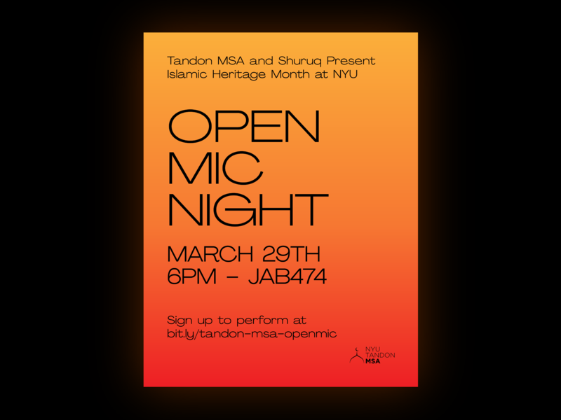 Open Mic Night Flyer open mic event islamic vector flat poster tandon nyu msa pangram sans serif grid system typography agrandir neon print illustrator gradient flyer