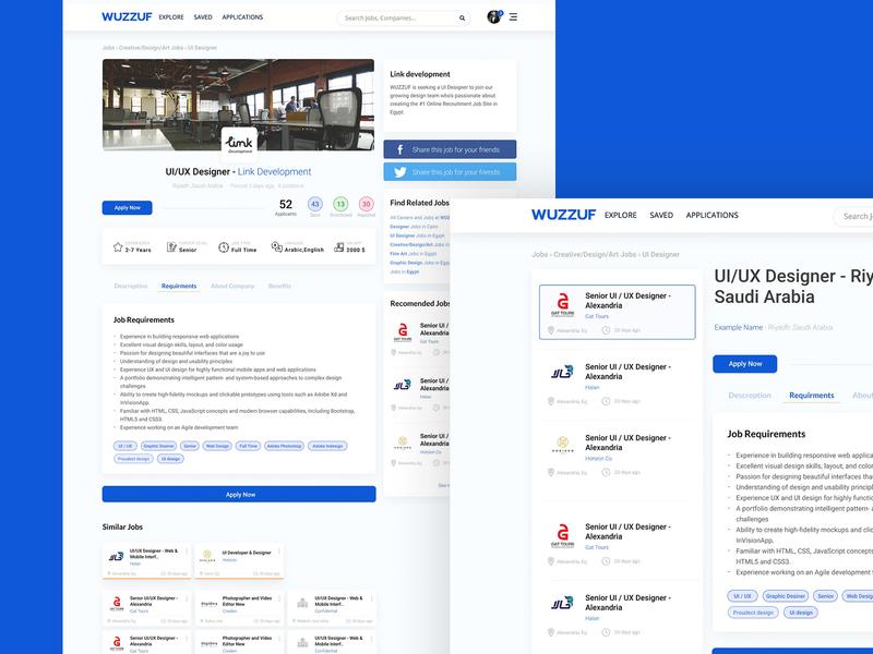 Wuzzuf page redesign webdesign design redesign web ui page wuzzuf