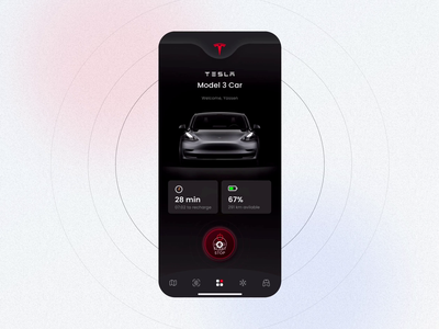Tesla App virtual key minimal virtual key dark clean ui clean app tesla app design user interface mobile app ux ui