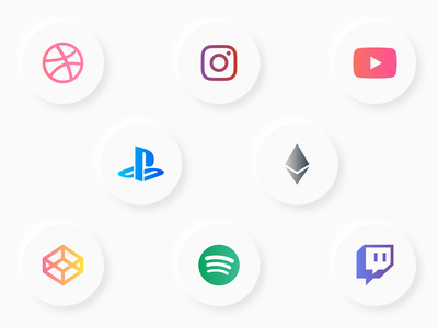 Icon Test design graphic design gradient buttons ui test neumorphism social media twitch spotify codepen cryptocurrency crypto ethereum youtube instagram dribbble playstation icons