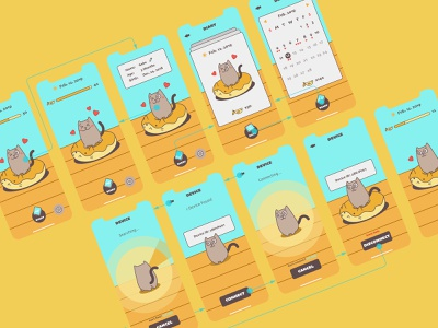 CleanCat App Wireframe wireframe design design ux ui app illustration