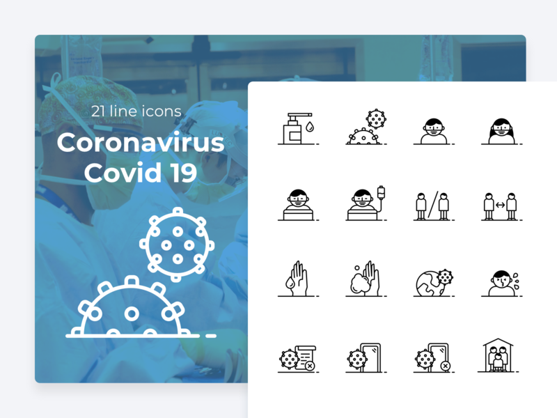 Covid-19 line icons icons work from home medical virus epidemic pandemic covid-19 covid19 coronavirus