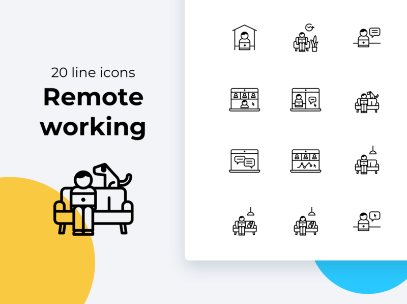 Telecommute, remote working icons icons set iconset telecommuting work from home stay home home schooling zoom call remote work video call flexible hours freelancer freelance part time orker online work