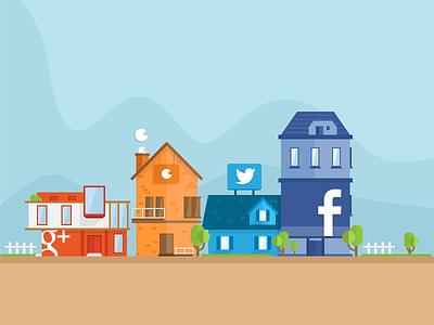 GetKudos initial illustration kudos illustration flat houses facebook twitter zopim google plus