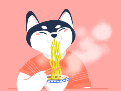 Husky dog with a bowl of ramen
