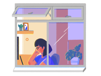 The Window Project flat building room stay home work from home window illustration