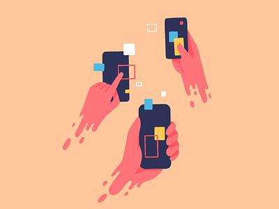Our addiction to phones communication internet addiction phone gestures hand illustration