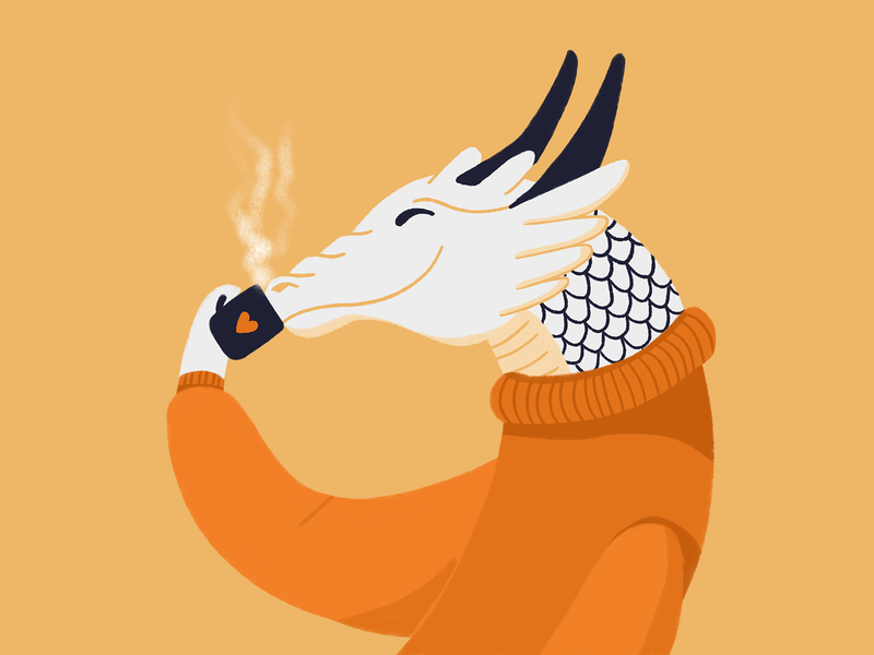Dragon sipping his afternoon tea character illustration dragon coffee tea