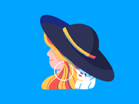 Sunny day hat character women in illustration cat woman women illustration
