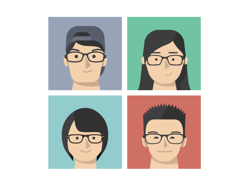 Some flat heads flat avatar vector illustration friends