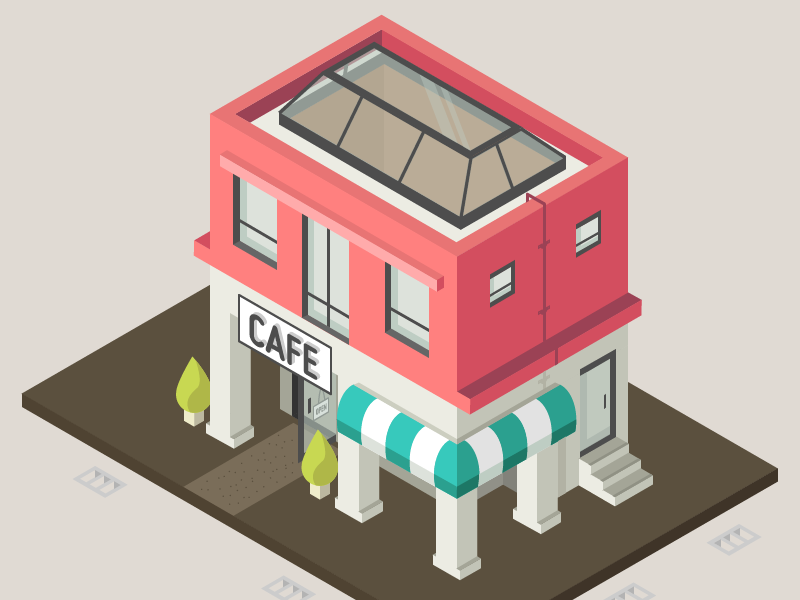 Cafe building isometric cafe illustration