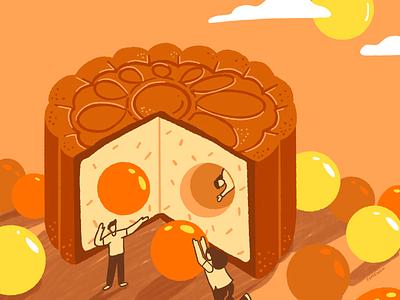 Mid autumn festival mooncake festival egg yolk moon illustration lantern festival autumn mooncake