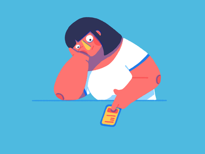 On the phone all day phone addiction woman phone character illustration
