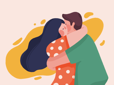 More hugs care love hug couple character illustration