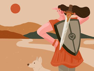 Heroine heroine shield sword mission adventure dog woman character flat illustration