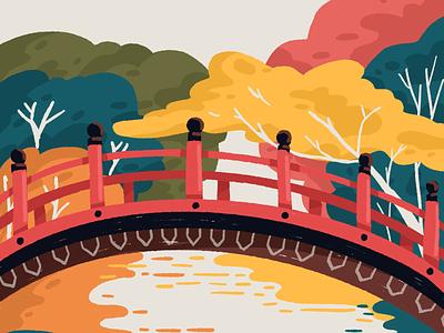 Shimogamo Shrine Bridge asian trees autumn bridge kyoto japan illustration