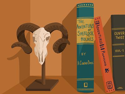 Bookshelf creepy horn skull home books sherlock bone shelf book illustration