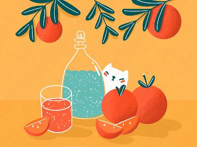 Orange still life water bottle water pitcher orange juice orange oranges cat still life illustration