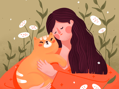 Woman hugging cat woman character hug hugging woman cat woman illustration character illustration