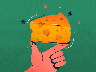 Cheese lovers day lovers cheese hand illustration