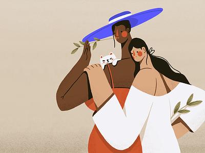 DTIYS Girls procreate challenge summer cat hat dtiys blacklifematters girl flat woman character illustration