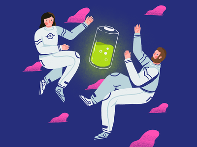 National Battery Day charging human floating space battery man woman character illustration