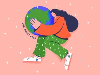 Our planet week green movement mother nature mother earth hugging globe earth planet earth planet woman character illustration