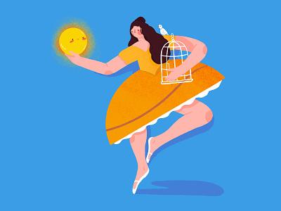 Spring is here! spring season spring sunshine sun birdcage bird girl woman character illustration