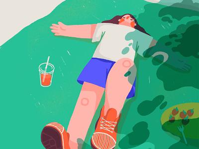 Picnic nap napping nap sleeping summer warm picnic spring girl woman character illustration