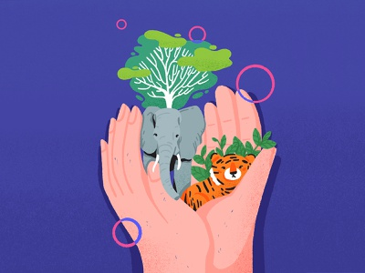 Protect our earth planet earth protect hand tiger elephant tree planet illustration