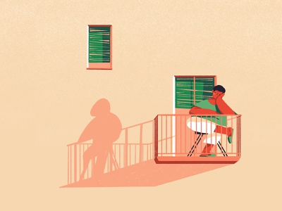 Balcony evening silhouette summer spring lonely balcony man illustration