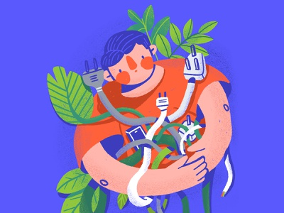 Energy consumption procreate carbon footprint energy consumption guy boy man electricity plug plants wire ourplanetweek earth planet energy illustration