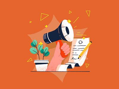 Voice for the planet potted plant pencil call for change paper plant voice loud hailer megaphone illustration