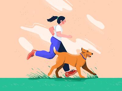 Running with dog labrador procreate lady running woman running girl running run with dog dog dog run running run woman character illustration