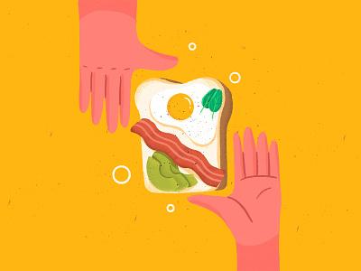 Brunch hand avocado bacon sunny side up egg toast food brunch lunch breakfast illustration