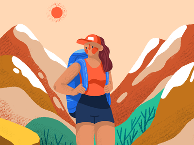 Hiking adventure outdoor hiking hike nature mountains woman character illustration