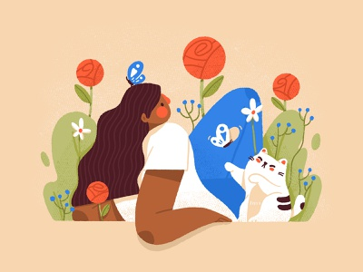 Spring is here black women lady relax nature flowers spring cat woman character illustration