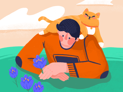 Crocus Bloom crocus boy mood booster mood boost spring flower chonky cat character illustration
