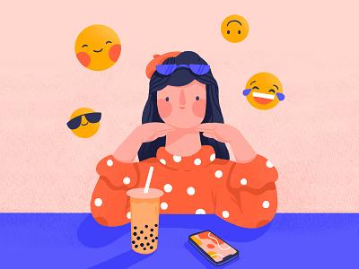 Emoji day emojiday emoticon emoji boba tea boba bubble tea woman character illustration