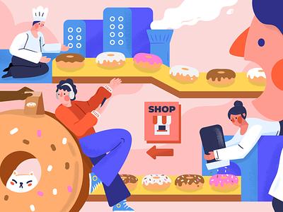 Donut factory vector doughnut donut baking bakery factory woman character illustration
